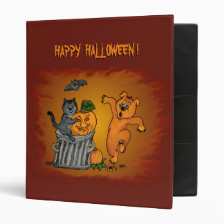 Happy Halloween! Cat Bat Dog and Spider 3 Ring Binder