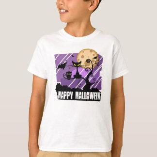 Happy Halloween cat bat owl purple T-Shirt