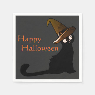 Happy Halloween Cat Witch - Napkins Disposable Napkin