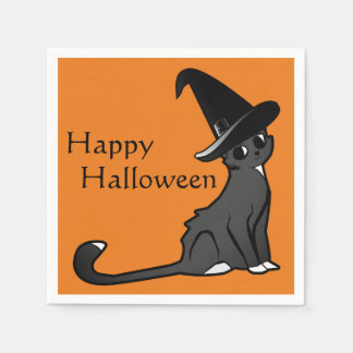 Happy Halloween Cat Witch - Napkins Disposable Napkins