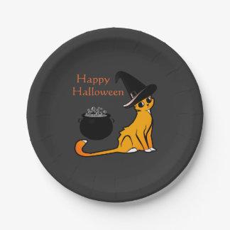 Happy Halloween Cat Witch - Plates
