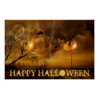 Happy Halloween Cats Eyes and Haunted Trees Poster