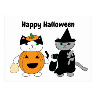 Happy Halloween Cats Pumpkin Witch Personalize Postcard