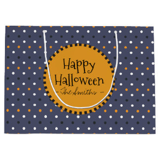 Happy Halloween Colors Polka Dots. Large Gift Bag