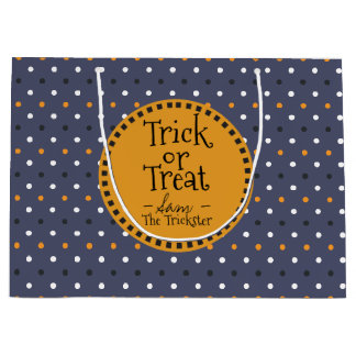 Happy Halloween Colors Polka Dots. Trick or Treat. Large Gift Bag