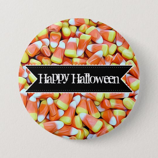 Happy Halloween Colourful Candy Corn Button