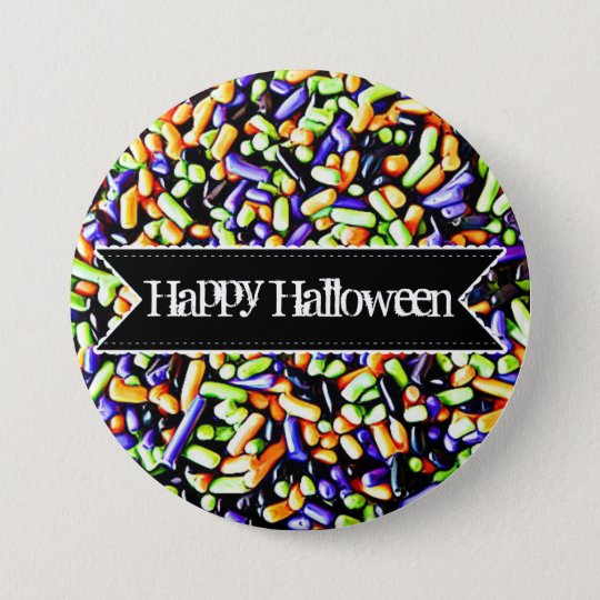 Happy Halloween Colourful Candy Sprinkles Button
