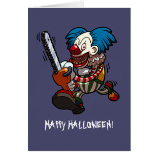 Happy Halloween Colourful Chainsaw Clown Cartoon Card
