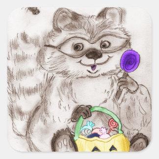 Happy Halloween Costumed Raccoon Square Sticker
