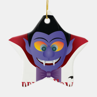 Happy Halloween Count Dracula Illustration Ceramic Ornament