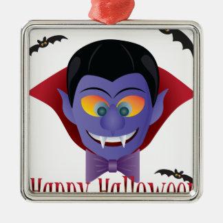Happy Halloween Count Dracula Illustration Metal Ornament