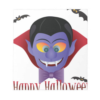 Happy Halloween Count Dracula Illustration Notepad