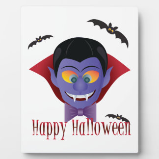 Happy Halloween Count Dracula Illustration Plaque