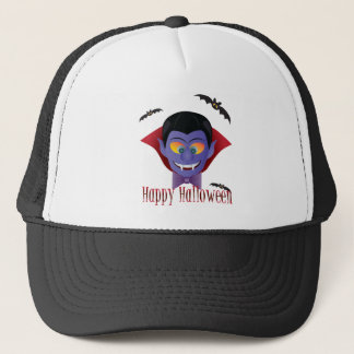 Happy Halloween Count Dracula Illustration Trucker Hat