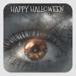 Happy Halloween Creepy Mystical Eye & Spiderweb Square Sticker