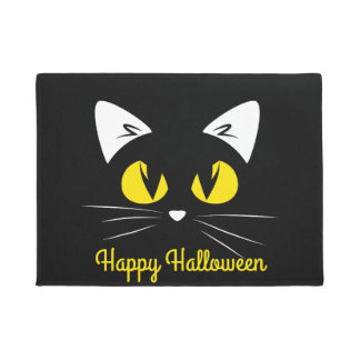 Happy Halloween Cute Black Cat Face Doormat