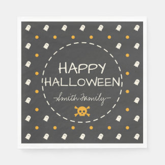 Happy Halloween. Cute Ghost Pumpkin Polka Dots. Paper Napkins