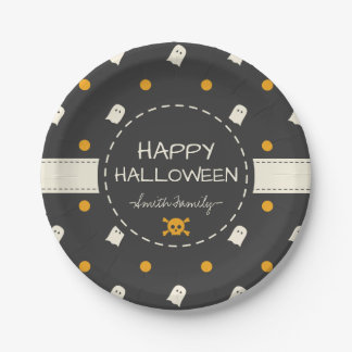 Happy Halloween. Cute Ghost Pumpkin Polka Dots. Paper Plate