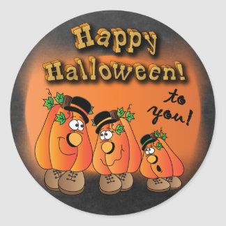 Happy Halloween Cute Pumpkins Round Sticker