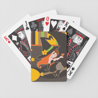 """""""Happy Halloween"""" Cute Red Haired Witch Bicycle Playing Cards"""