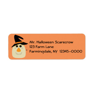 Happy Halloween Cute Scarecrow and Spider Return Address Label