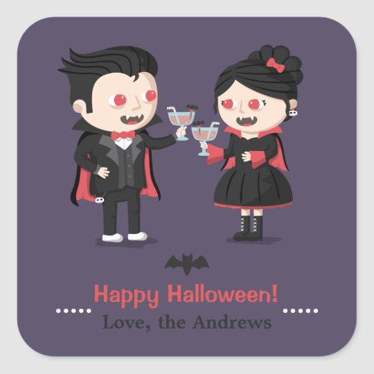 Happy Halloween Cute Vampires Cheers Toast Sticker