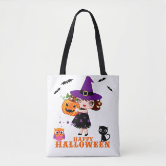 Happy Halloween cute witch tote