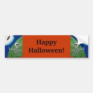Happy Halloween Dancing silly Skeletons Moon Bats Bumper Sticker
