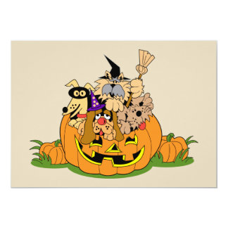 Happy Halloween Dogs In Pumpkin Card