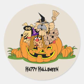 Happy Halloween Dogs In Pumpkin Classic Round Sticker