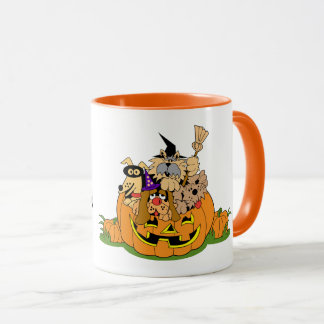 Happy Halloween Dogs In Pumpkin Mug