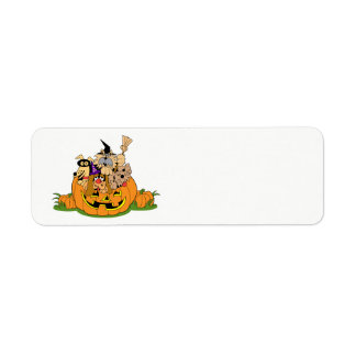 Happy Halloween Dogs In Pumpkin Return Address Label