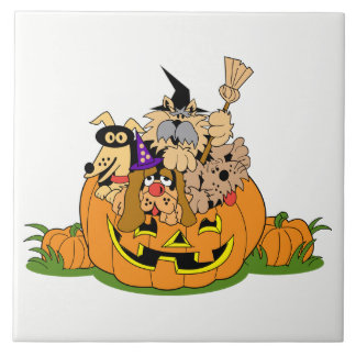 Happy Halloween Dogs In Pumpkin Tile