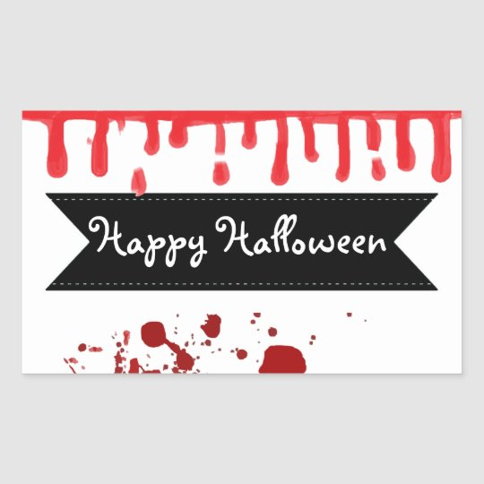 Happy Halloween Dripping Blood Splatter Stickers