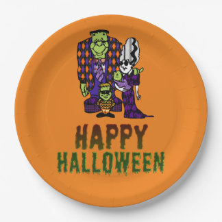 Happy Halloween Frankenstein Family 9 Inch Paper Plate