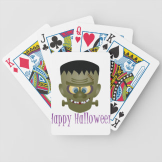 Happy Halloween Frankenstein Monster Illustration Bicycle Playing Cards