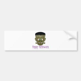 Happy Halloween Frankenstein Monster Illustration Bumper Sticker