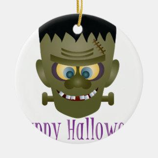 Happy Halloween Frankenstein Monster Illustration Ceramic Ornament