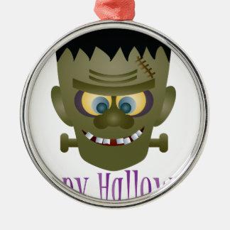 Happy Halloween Frankenstein Monster Illustration Metal Ornament