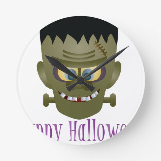 Happy Halloween Frankenstein Monster Illustration Round Clock