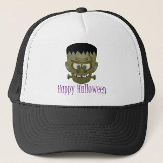Happy Halloween Frankenstein Monster Illustration Trucker Hat