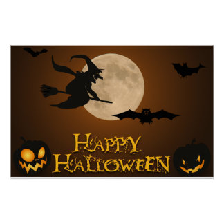 Happy Halloween; Full Moon and Witch Poster