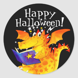Happy Halloween Funny Kid's Baby Dragon Party Classic Round Sticker