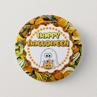 Happy Halloween Ghost and Gourds Button