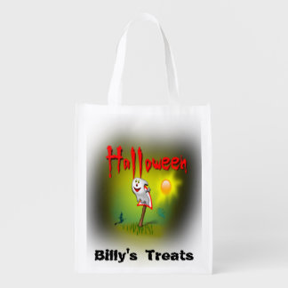 Happy Halloween Ghost Customize your Child's Name Reusable Grocery Bag