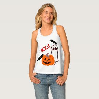 Happy Halloween Ghost with Pumpkin Tank Top