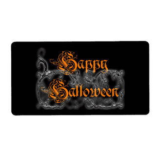 Happy Halloween Ghostly Scrolls Shipping Label