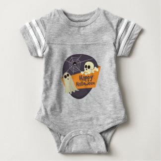 Happy Halloween Ghosts and Crossbones Baby Bodysuit