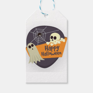 Happy Halloween Ghosts and Crossbones Gift Tags