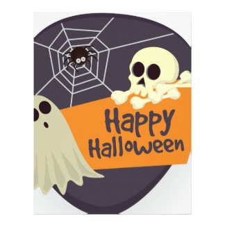 Happy Halloween Ghosts and Crossbones Letterhead